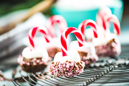 Colorful and creative festive Christmas sweets on cooling tray.