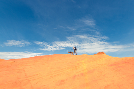 Man and dog walking on the edge of dune.