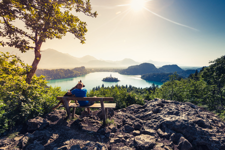 Couple travellers in Slovenia Bled lake.. Фото со стока