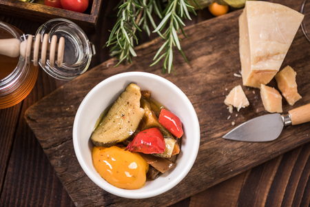Peppers in olive oil ,spanish tapa bar food. 版權商用圖片