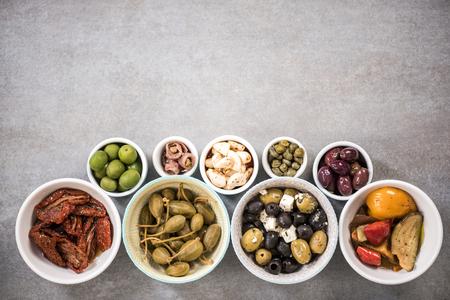 クローズ アップ ビュー pn スペインのタパス。スペース、食品フレームをコピーします。 写真素材