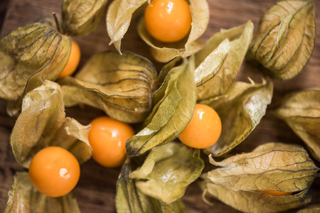 Physalis fruits close up view from above. Stockfoto