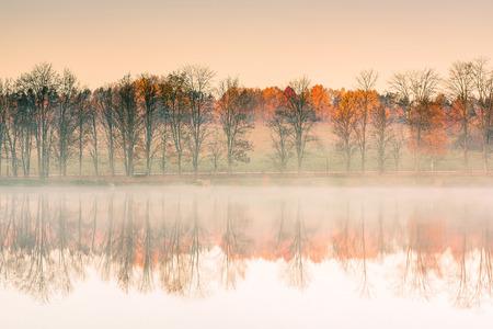 Trees at lake egde reflect in water with autumn colors, misty morning Banco de Imagens - 88631935