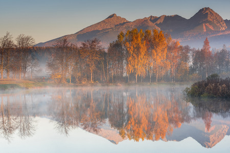 Early morning sunrise in high Tatra mountains.