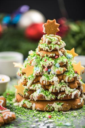 Sweet festive baking in Christmas creative kitchen. Stock Photo
