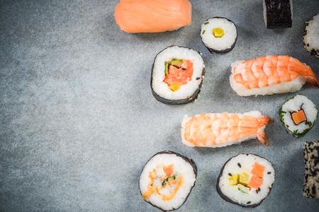 Japanese or asian sushi border background.