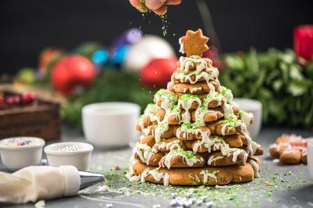 Gingerbread creative Christmas decoration. Artisan festive baking.