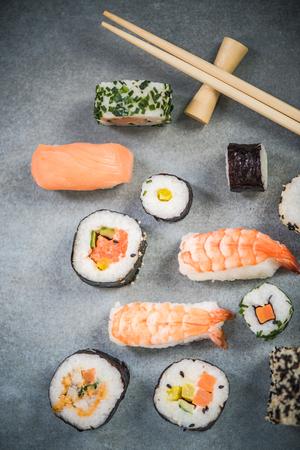 Japanese food sushi close up.