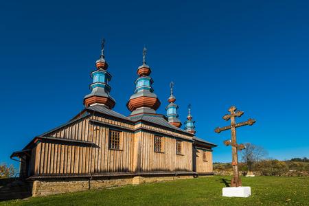 Orthodox wooden church in Komancza,Bieszczady,Poland. One of many located in Carpathian Mountains. Reklamní fotografie