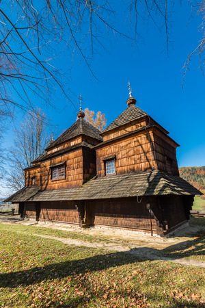 Orthodox wooden church in Smolnik,Bieszczady,Poland. One of many located in Carpathian Mountains.