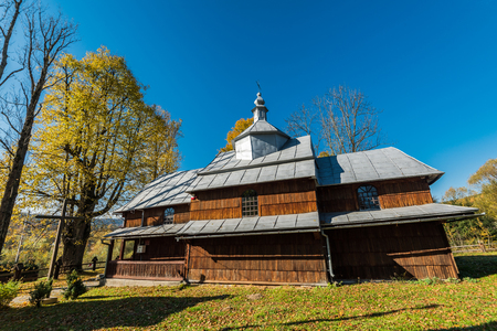 Orthodox wooden church in Bieszczady,Poland. One of many located in Carpathian Mountains.