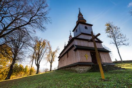 Orthodox wooden church in Radoszyce,Bieszczady,Poland. One of many located in Carpathian Mountains.
