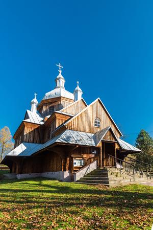 Orthodox wooden church in Hoszow,Bieszczady,Poland. One of many located in Carpathian Mountains. Editorial