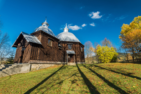 Orthodox wooden church in Michniowiec,Bieszczady,Poland. One of many located in Carpathian Mountains.