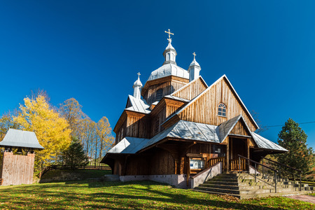 Orthodox wooden church in Hoszow,Bieszczady,Poland. One of many located in Carpathian Mountains. Stock Photo