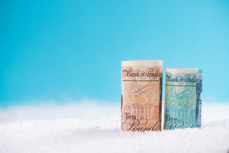 British pounds sterling money, Christmas sale concept.
