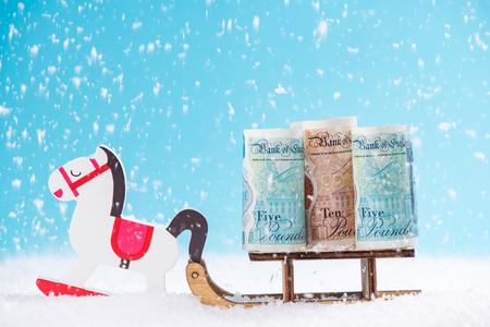 英国のお金、サイバー月曜日、ブラックフライデークリスマスセールコンセプト。