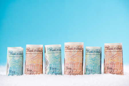 British pounds sterling money, Christmas sale concept. Imagens - 90420855