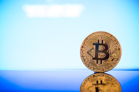 Bitcoin cryptocurrency golden coin, copy space. Stock Photo