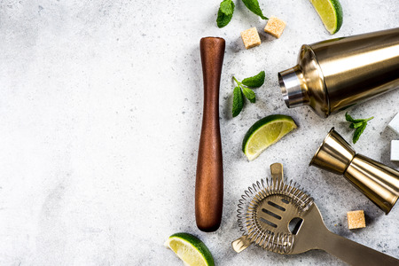 Ingredients for making drinks and cocktails. Bartender tools