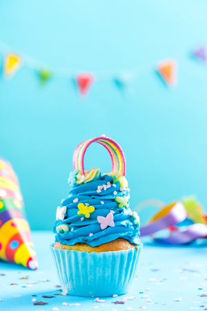 Blue cupcake, celebration card mockup.
