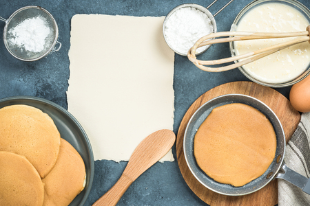 Ingredients for pancakes with copy space for recipe Stok Fotoğraf - 93345564