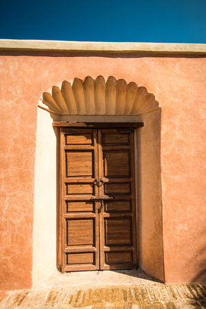 Wooden traditional entrance door in Marrakesh,Morroco