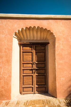 Wooden traditional entrance door in Marrakesh,Morroco