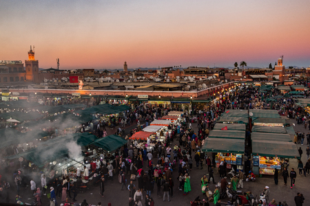 Jamaa El Fna famous market square,Marrakesh,Morocco. Aeriel view at sunset. Stock Photo