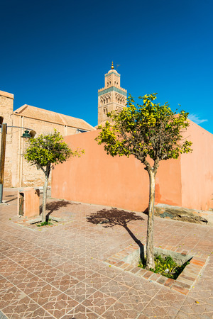 Street scene with Koutoubia Mosque in Marrakesh,Morocco.