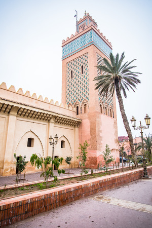 Old mosque in Marrakesh at foggy day.