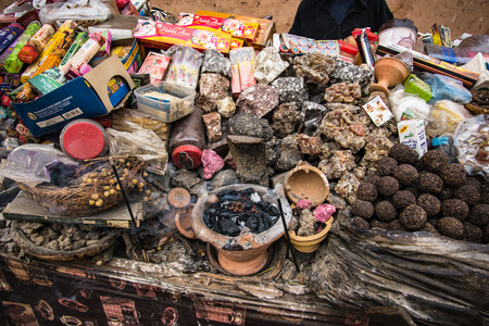 Marrakech,Morocco - January 2018:Street wendor stall with incense,resin and perfume Redactioneel