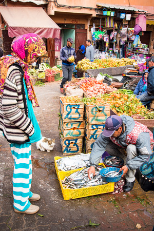 Marrakech,Morocco - January 2018:Hidden local fresh food market in Marrakesh