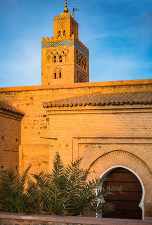 Koutoubia Mosque in Marrakesh in warm sun light,Morocco.