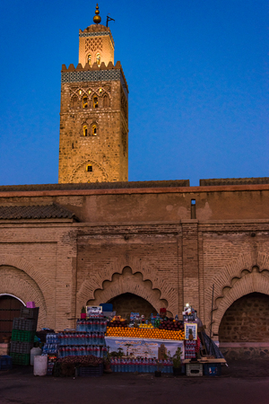 Marrakech,Morocco - January 24th 2018: Fresh fruits sold in stall by Koutoubia Mosque untill late night. Editorial