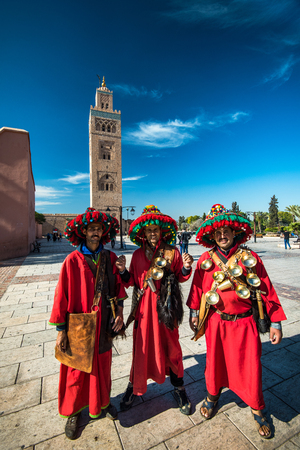 Marrakech,Morocco - January 2018: Group of north african men in traditional moroccan colorful clothing