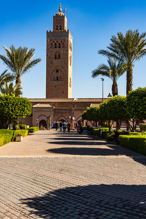 Marrakech,Morocco - January 24th 2018: Famous Koutoubia Mosque seen from Arabic gardens,Marrakesh,Morocco.