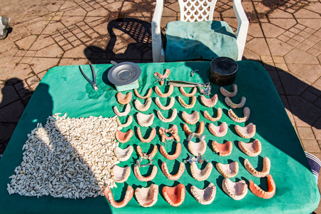Street stall with handmade denture in Morocco.