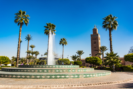 Koutoubia Mosque gardens and fountain, Marrakesh,Morocco.