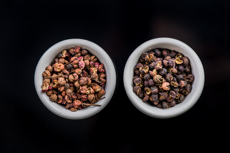 Nepalese Timut and Sichuan pepper in pots. 스톡 콘텐츠
