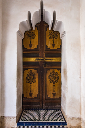 Decorated traditional arabic doors in Marrakesh,Morocco