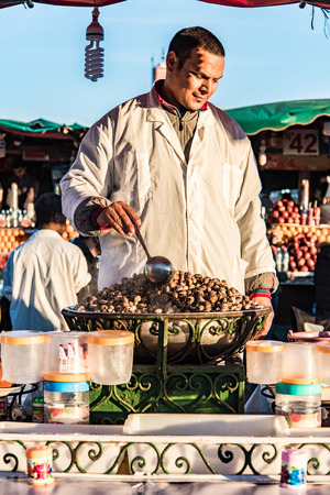 Marrakech,Morocco - January 2018: Street food stall on Jamaa El Fna market square