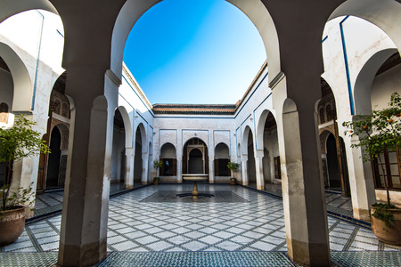 Courtyard with fountain, Bahia Palace,Morocco.