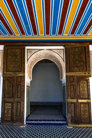 Arabic decorated door in Bahia Palace,Marrakesh,Morocco..