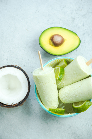 Avocado,lime and coconut healthy trendy ice lolly