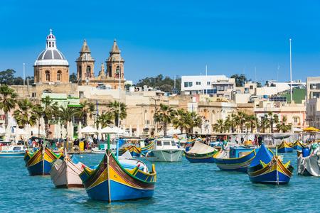 Vibrant fiherman boats in Malta.