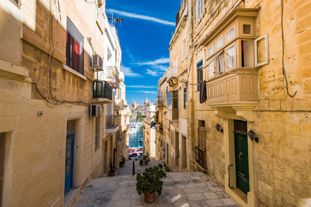 Narrow charming street in Senglea,Malta.