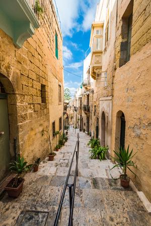 Narrow charming street in Birgu,Malta