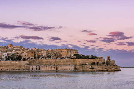 Beautiful sunset over Valletta skyline,Malta.