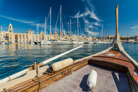 View from onboard of traditional boat in Malta. Stock fotó